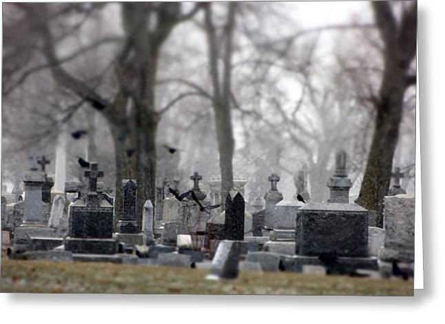 Miniature Effect Greeting Cards - Gray Winter Graveyard Greeting Card by Gothicolors Donna Snyder