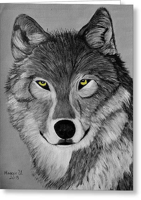 Alertness Paintings Greeting Cards - Gray wolf Greeting Card by Maggie Ullmann