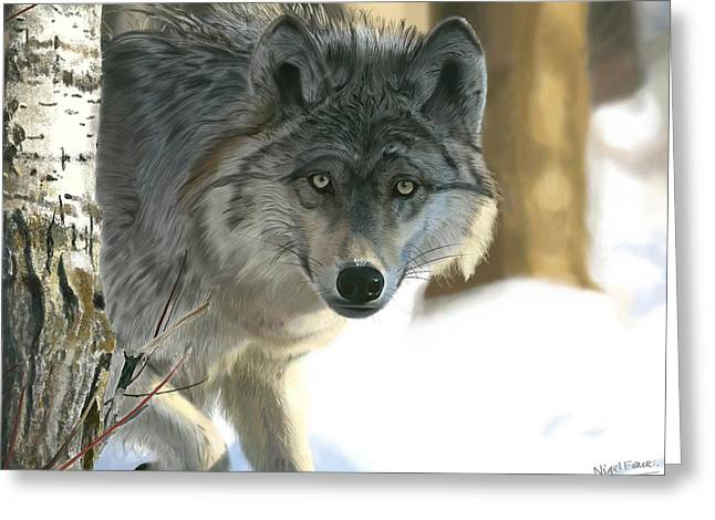 Theater Greeting Cards - Gray Wolf Greeting Card by Nigel Follett
