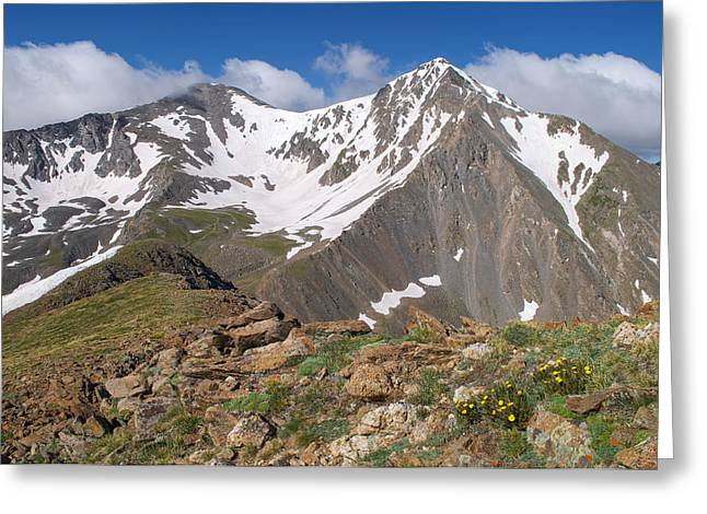 Rocky In Spring Greeting Cards - Grays and Torreys Peak Greeting Card by Aaron Spong