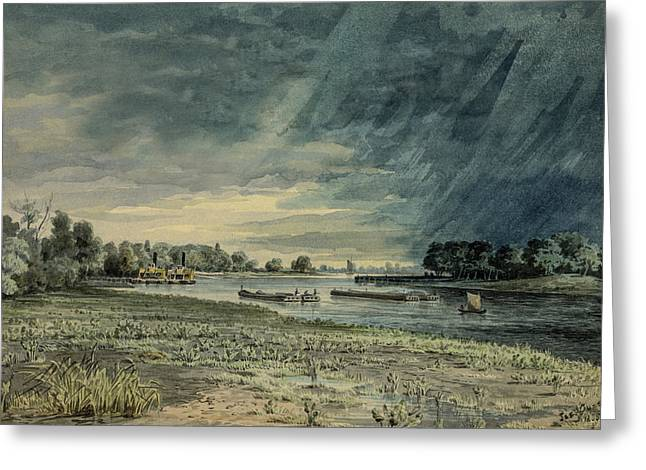 Storm Clouds Drawings Greeting Cards - Grays Ferry circa 1858 Greeting Card by Aged Pixel