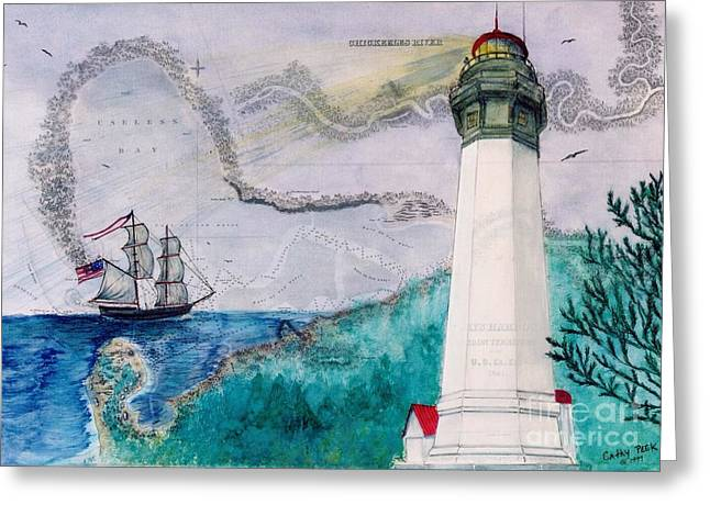 Recently Sold -  - Lady Washington Greeting Cards - Grays Harbor Lighthouse Lady WA Chart Map Art Peek Greeting Card by Cathy Peek