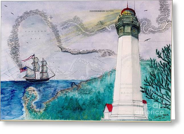 Recently Sold -  - Lady Washington Greeting Cards - Grays Harbor Lighthouse Lady WA Chart Map Art Peek Greeting Card by Cathy Peek