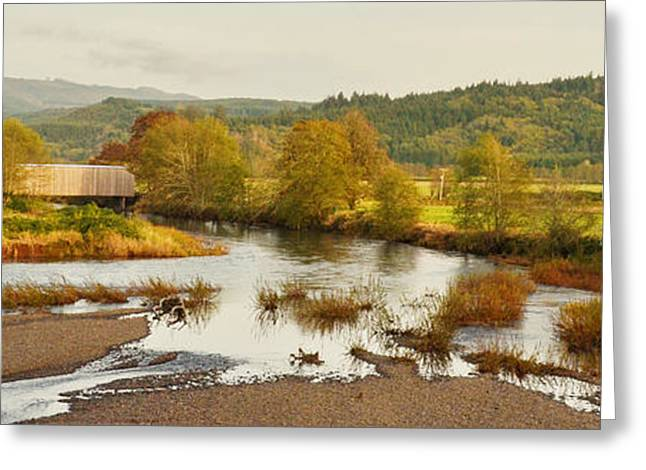 Covered Bridge Greeting Cards - Grays River Panorama Greeting Card by Ansel Price