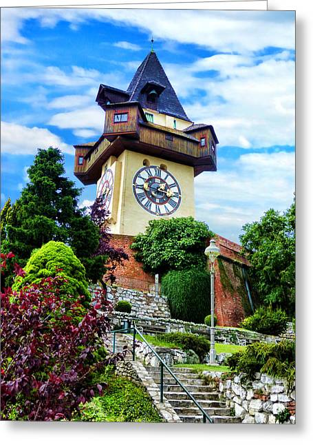 Styria Greeting Cards - Graz Clock Tower Greeting Card by Mariola Bitner