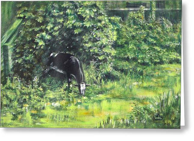 Sacred Cow Greeting Cards - Grazing Cow Greeting Card by Usha Shantharam