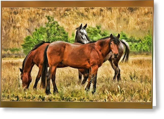 Horse Websites Greeting Cards - Grazing Horses Greeting Card by Blake Richards