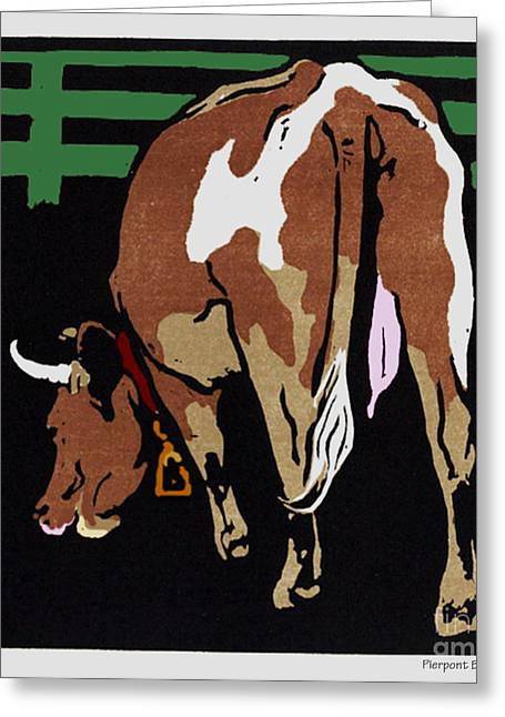 Barn Yard Greeting Cards - Grazing Milk Cow in Pen Greeting Card by Pierpont Bay Archives