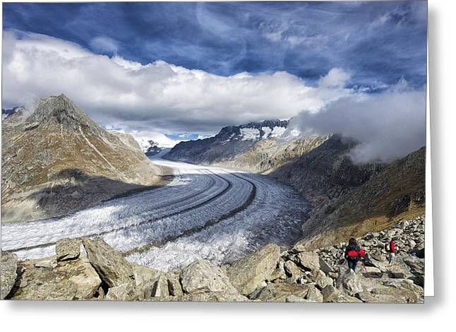 Swiss Photographs Greeting Cards - Great Aletsch Glacier Swiss Alps Switzerland Europe Greeting Card by Matthias Hauser