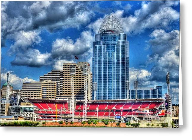 Baseball Stadiums Greeting Cards - Great American Ballpark Greeting Card by Mel Steinhauer