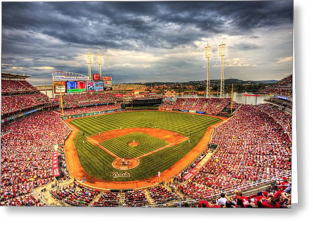 Baseball Stadiums Greeting Cards - Great American Ballpark Greeting Card by Shawn Everhart