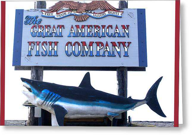 White Shark Greeting Cards - Great American Fish Company Red Greeting Card by Barbara Snyder