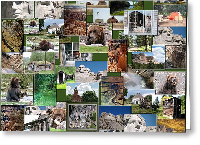Coller Greeting Cards - Great American Outdoors Collage Square Greeting Card by Thomas Woolworth