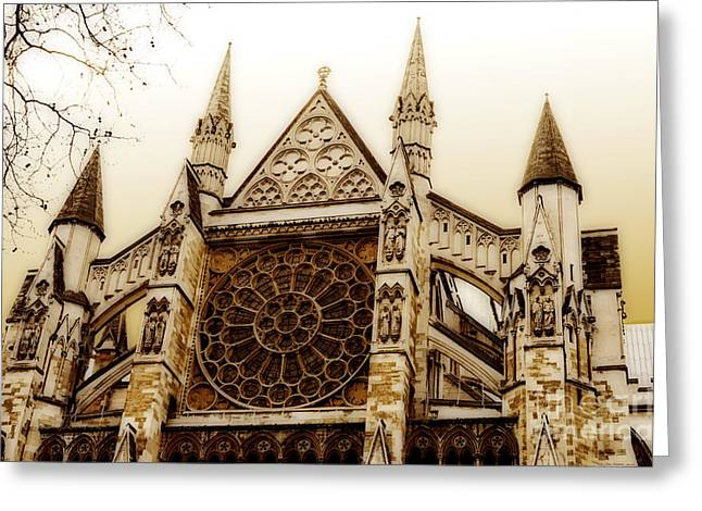 Great Architecture Westminster Abbey Greeting Card by MaryJane Armstrong