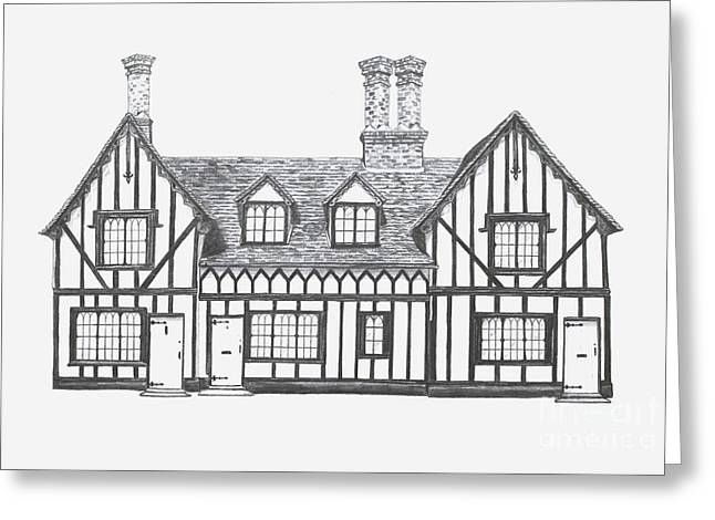 Charming Cottage Drawings Greeting Cards - Great Bardfield St Johns Terrace Greeting Card by Shirley Miller