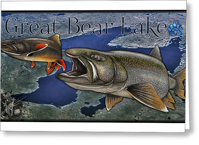 Trout Fishing Drawings Greeting Cards - Great Bear Lake Greeting Card by Nick Laferriere