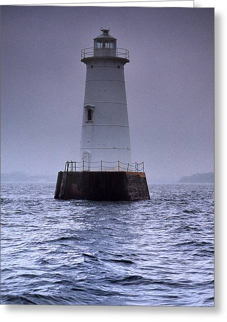 Raritan Greeting Cards - Great Beds Lighthouse Greeting Card by Skip Willits