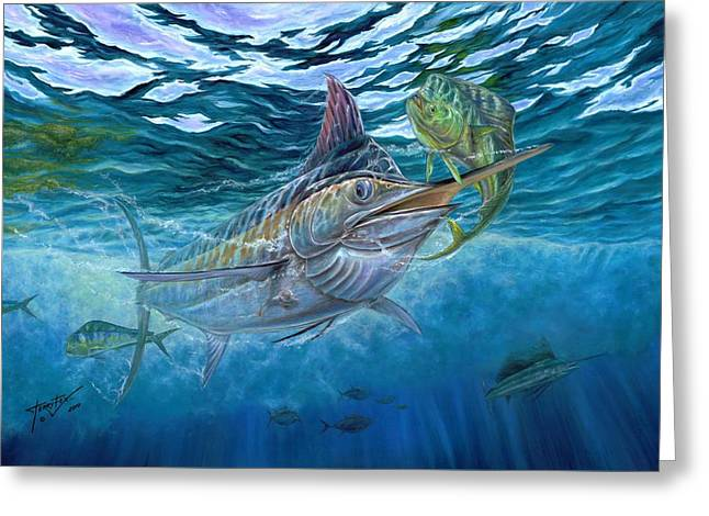 Terry Greeting Cards - Great Blue And Mahi Mahi Underwater Greeting Card by Terry Fox