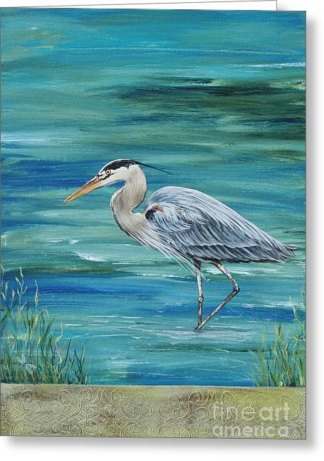 Water Fowl Paintings Greeting Cards - Great Blue Heron 1 Greeting Card by Jean Plout