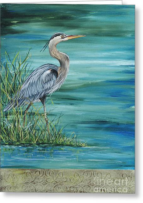 Water Fowl Paintings Greeting Cards - Great Blue Heron  2 Greeting Card by Jean Plout