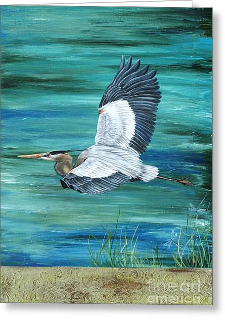 Water Fowl Paintings Greeting Cards - Great Blue Heron 3 Greeting Card by Jean Plout