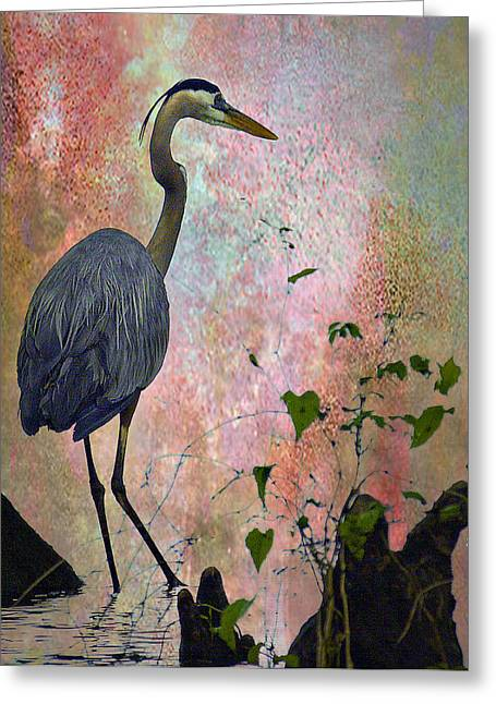 Wildlife Digital Art Greeting Cards - Great Blue Heron Among Cypress Knees Greeting Card by J Larry Walker