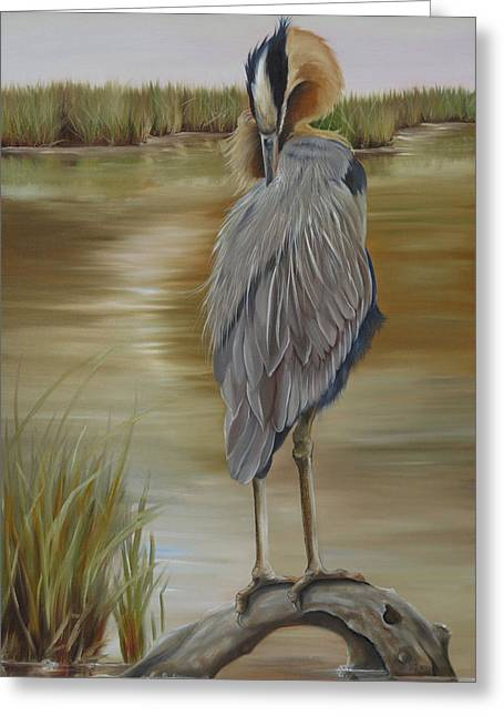 Wadingbird Greeting Cards - Great Blue Heron At Half Moon Island Greeting Card by Phyllis Beiser