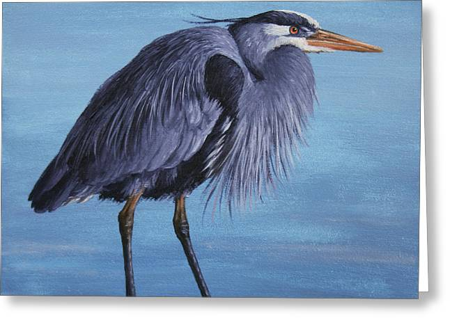 Waterfowl Paintings Greeting Cards - Great Blue Heron Greeting Card by Crista Forest