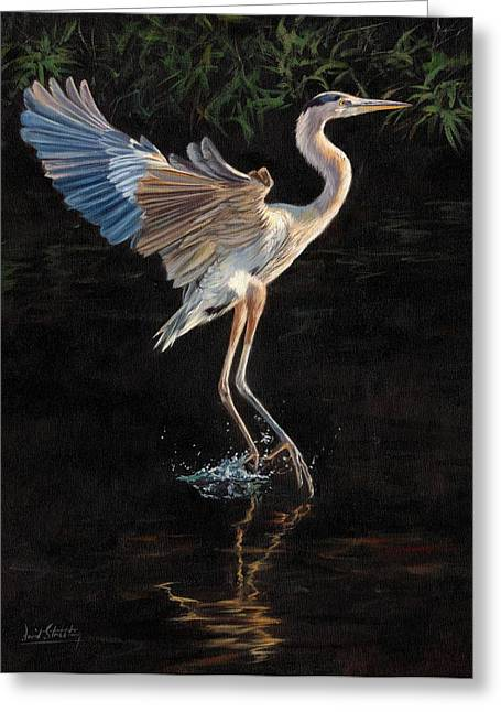 Aquatic Greeting Cards - Great Blue Heron Greeting Card by David Stribbling