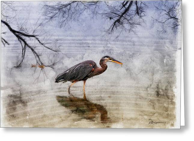 Wade Mixed Media Greeting Cards - Great Blue Heron Fishing - Featured in Cards for all Occasions Group Greeting Card by EricaMaxine  Price