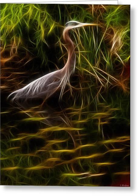 Jordan Digital Greeting Cards - Great Blue Heron - Fractal Art Greeting Card by Jordan Blackstone