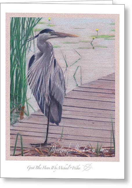 Lilly Pads Pastels Greeting Cards - Great Blue Heron II Greeting Card by Michael  Weber
