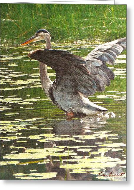 Great Paintings Greeting Cards - Great Blue Heron Greeting Card by Ken Everett