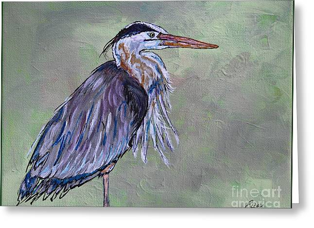 Water Fowl Greeting Cards - Great Blue Heron Painting Greeting Card by Ella Kaye Dickey