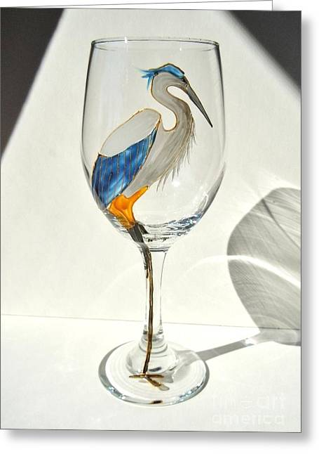 Great Glass Art Greeting Cards - Great Blue Heron Wineglass Greeting Card by Pauline Ross