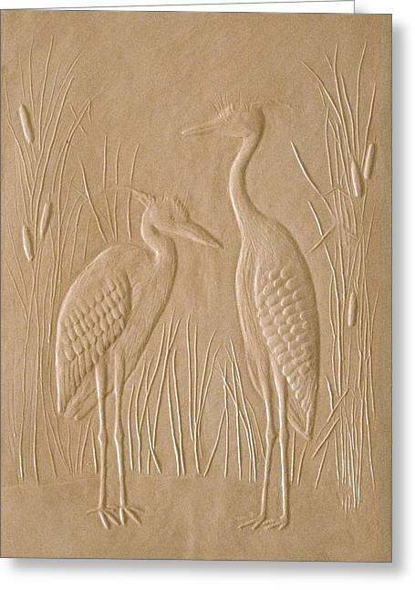 Printed Reliefs Greeting Cards - Great Blue Herons Greeting Card by Deborah Dendler