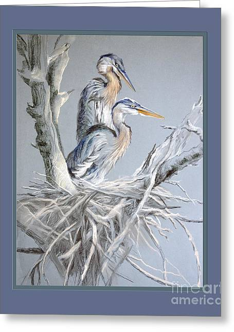 Great Birds Pastels Greeting Cards - Great Blue Herons on Nest Greeting Card by Kathryn Yoder