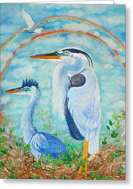 Dream Scape Greeting Cards - Great Blue Herons Seek Freedom Greeting Card by Ashleigh Dyan Bayer