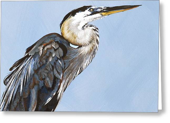 Great Blue I Greeting Card by Joan Garcia