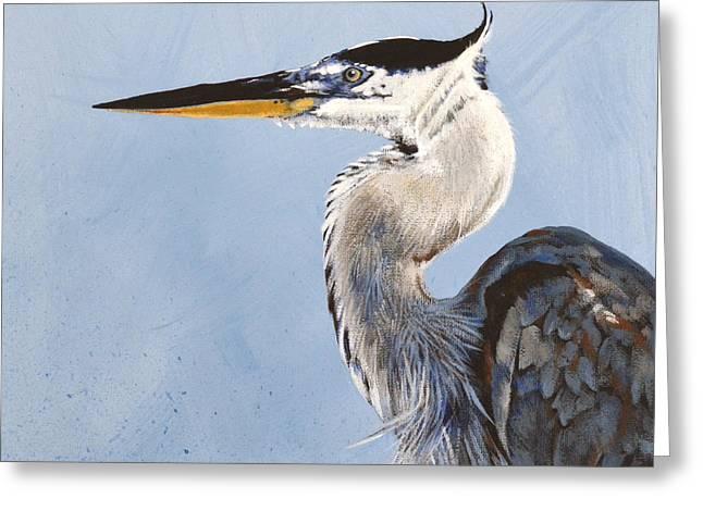 Great Birds Greeting Cards - Great Blue II Greeting Card by Joan Garcia
