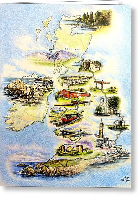 Historic Statue Drawings Greeting Cards - Great Britain and Ireland Greeting Card by Andrew Read