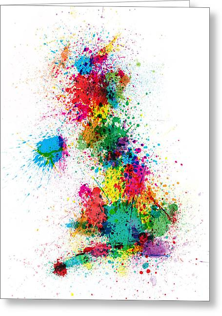 Wales Digital Greeting Cards - Great Britain UK Map Paint Splashes Greeting Card by Michael Tompsett