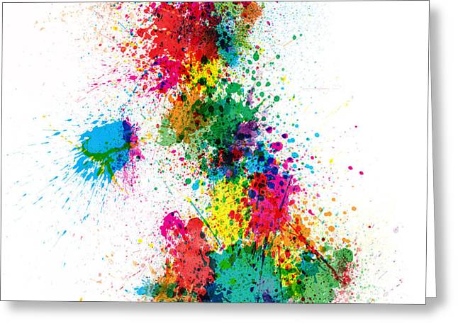 Great Britain UK Map Paint Splashes Greeting Card by Michael Tompsett