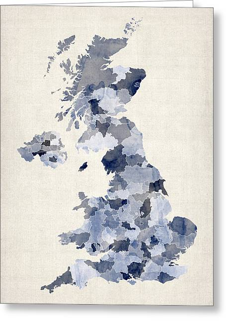 Isle Greeting Cards - Great Britain UK Watercolor Map Greeting Card by Michael Tompsett