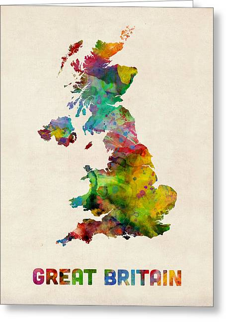England Map Greeting Cards - Great Britain Watercolor Map Greeting Card by Michael Tompsett