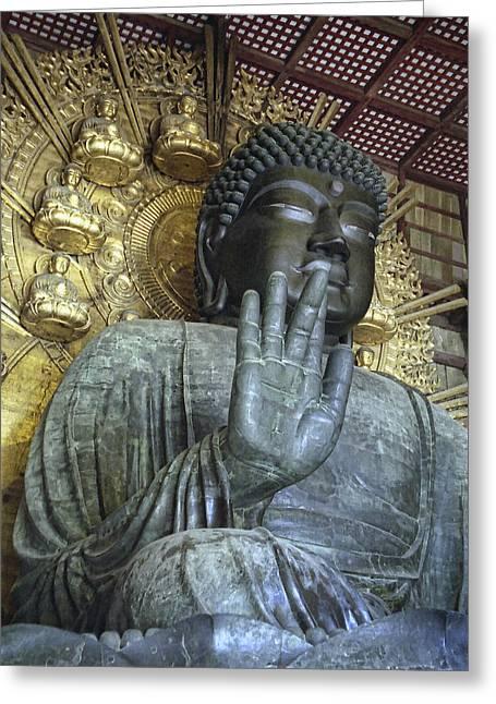 Kansai Photographs Greeting Cards - GREAT BUDDHA of NARA JAPAN Greeting Card by Daniel Hagerman