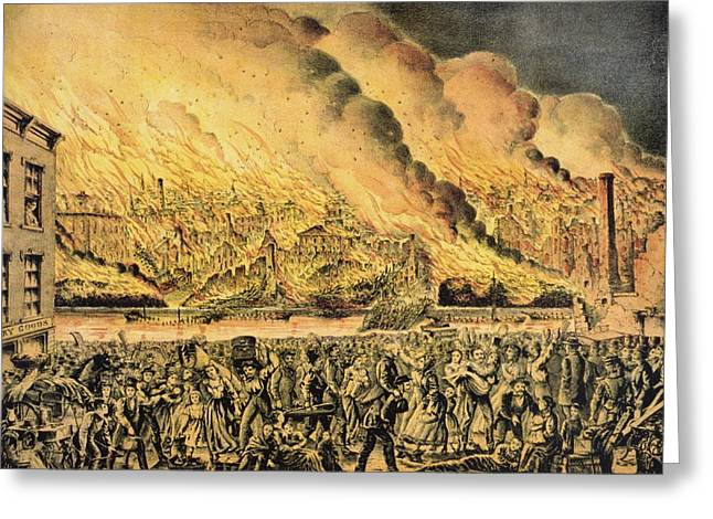 Wooden Building Greeting Cards - Great Chicago Fire, 1871 Greeting Card by Science Photo Library