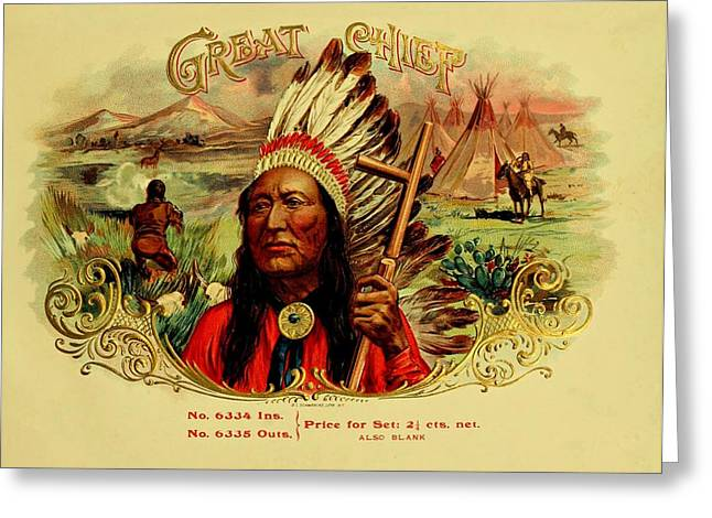 Cigar Drawings Greeting Cards - Great Chief Vintage Cigar Advertisement Greeting Card by Movie Poster Prints