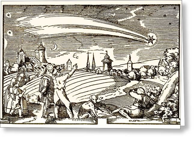 Observer Greeting Cards - Great comet of 1577, historical artwork Greeting Card by Science Photo Library