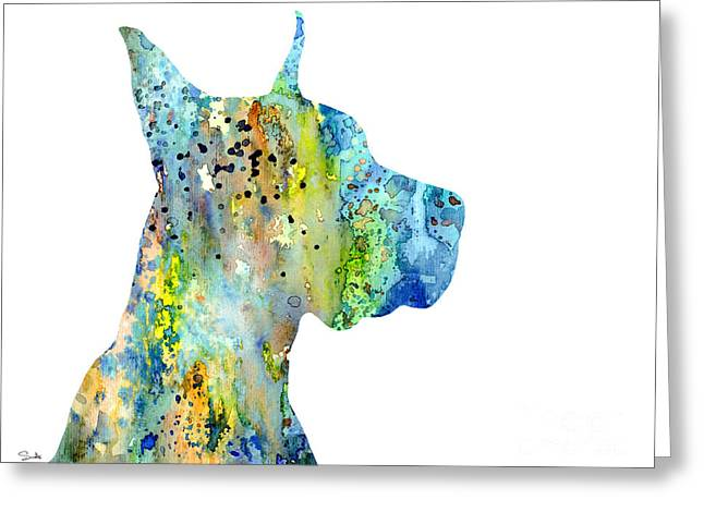 Great Paintings Greeting Cards - Great Dane 6 Greeting Card by Lyubomir Kanelov